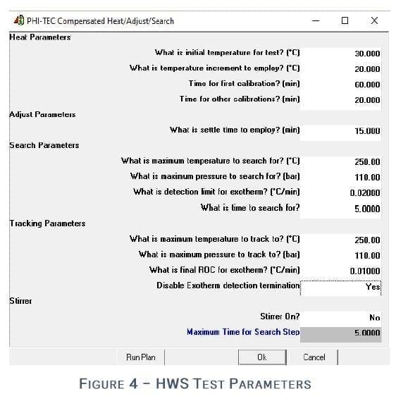 Figure 4 - Heat-Wait-Search (HWS) Parameters