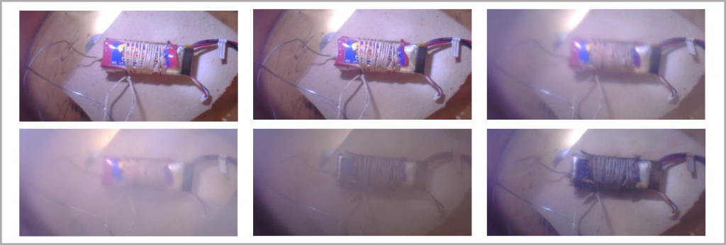 Figure 27_Li-ion polymer battery undergoing thermal decomposition; images from the integrated video camera in the BTC-500